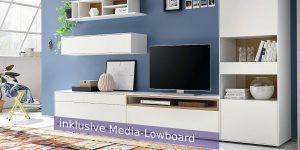 hülsta NOW! EASY Wohwand MIT Media-Lowboard ca. H180,7 x B320.0 x T44,8 cm – in 3 Designs