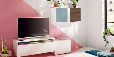 hülsta NOW! EASY Wohnwand mit 2 Design-Boxen ca. H147,2 x B283,2 x T44,8 cm