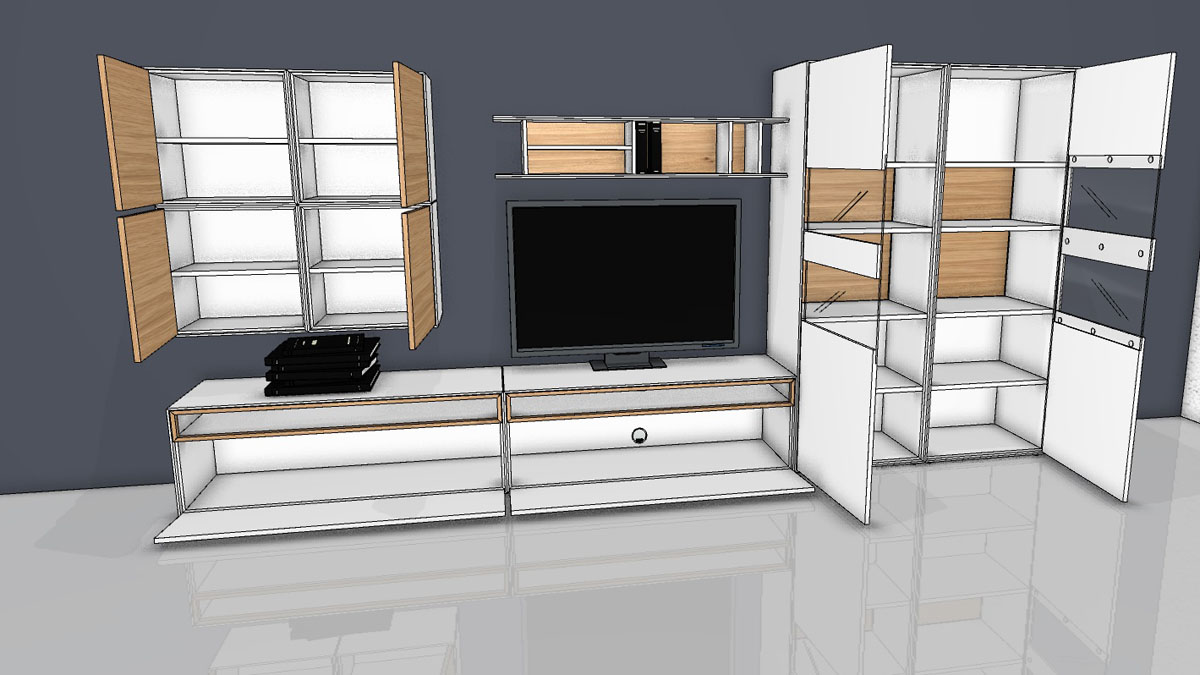 h lsta now easy wohnwand mit viel stauraum zum aktions preis. Black Bedroom Furniture Sets. Home Design Ideas