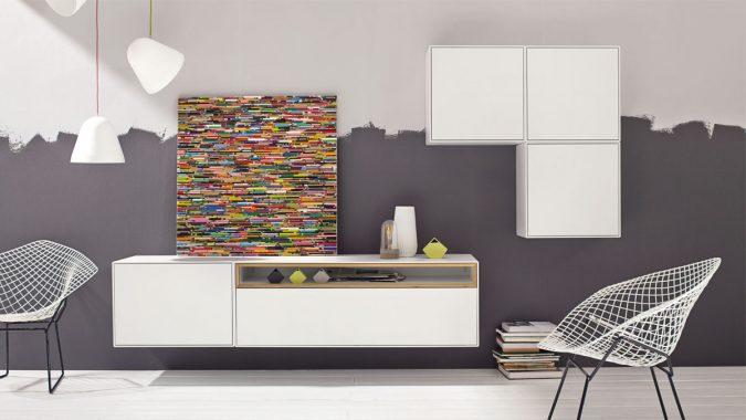 now! by hülsta präsentiert: now! easy Wohnwand mit Design-Hängeboxen# 980025 mit Akzent in Natureiche