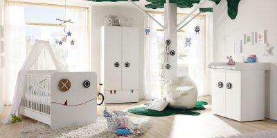 [Best-Style-Bundle:] now! minimo – Vorzugskombination 1 (bestehend aus: Kleiderschrank + Babybett mit Federholzrahmen + Kommode mit Wickelaufsazu + Wickelauflage)