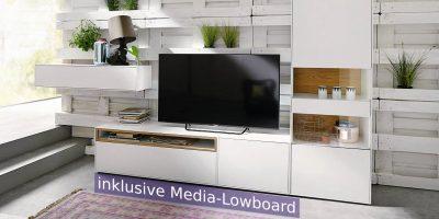 hülsta NOW! EASY Wohnwand MIT Media-Lowboard  ca H180,7 x B349,8 x T44,8 cm – in 3 verschiedenen Designs