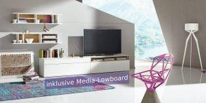 hülsta NOW! EASY Wohnwand MIT Media-Lowboard ca. H162 xB334 xT44,8cm in 3 versch. Designs