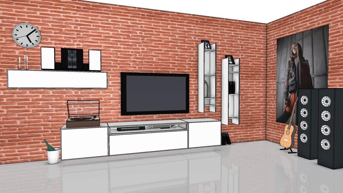 now easy wohnwand mit 2 h ngeregalen 1 h ngeelement. Black Bedroom Furniture Sets. Home Design Ideas