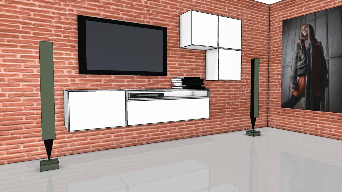 now easy wohnwand mit design boxen 980023 980024 980025. Black Bedroom Furniture Sets. Home Design Ideas