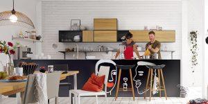 now! to go Formations-Vorschlag für die Küche (Front in Natureiche oder Lack-Hochglanz-reinweiß)