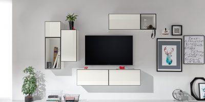 now! to go Vorschlagskombination mit 7 Boxen *moderne Wohnwand-Zusammenstellung* (Lack-Hochglanz-reinweiß)