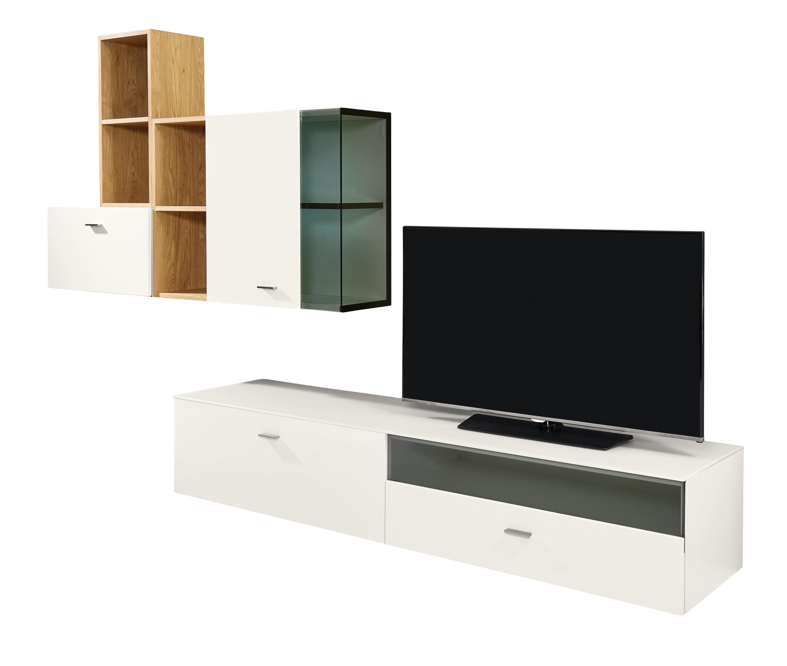 aktion now wohnwand vorzugskombination mit eiche akzent. Black Bedroom Furniture Sets. Home Design Ideas