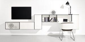 now! to go 7er Bundle *Wohnwand mit Home-Office-Lösung* (Front Lack-Hochglanz-reinweiß)