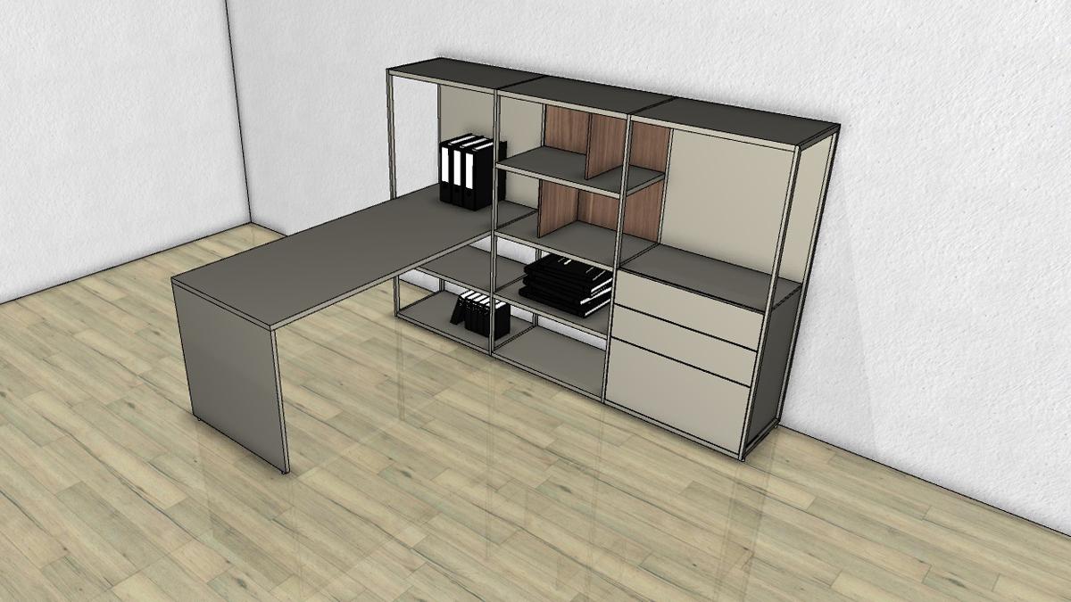 regal mit schreibtisch integriert. Black Bedroom Furniture Sets. Home Design Ideas