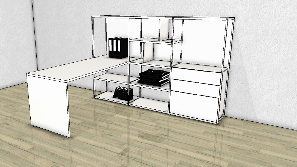 h lsta now vision regalkombination mit schreibtisch. Black Bedroom Furniture Sets. Home Design Ideas