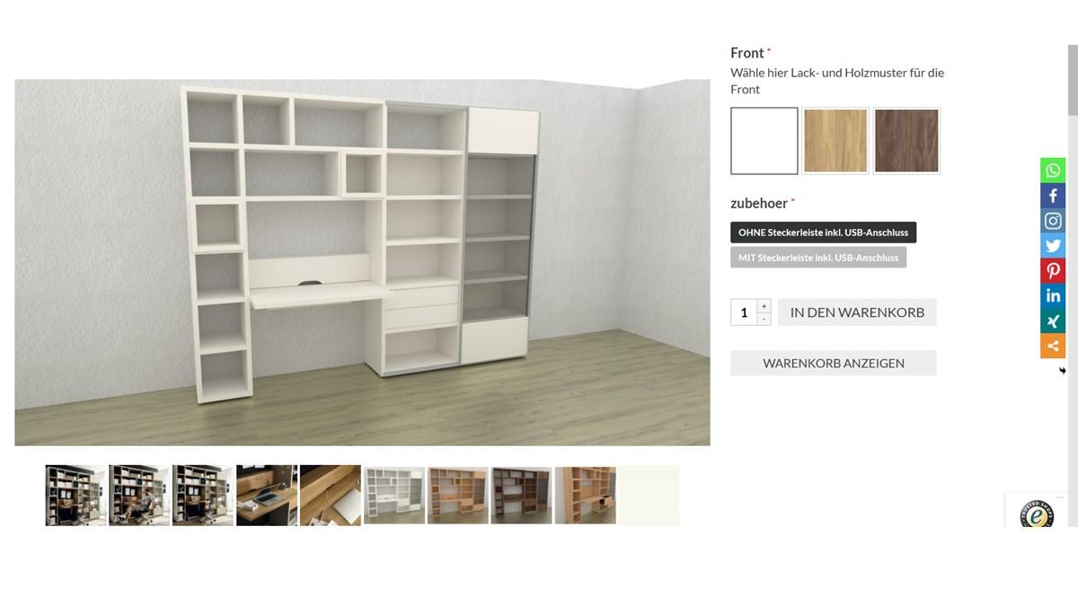 Bestelle die hülsta NOW! TIME Schreibtischwand #990011 alternativ in unserem neuen noch intuitiveren Markenmöbel-Onlineshop