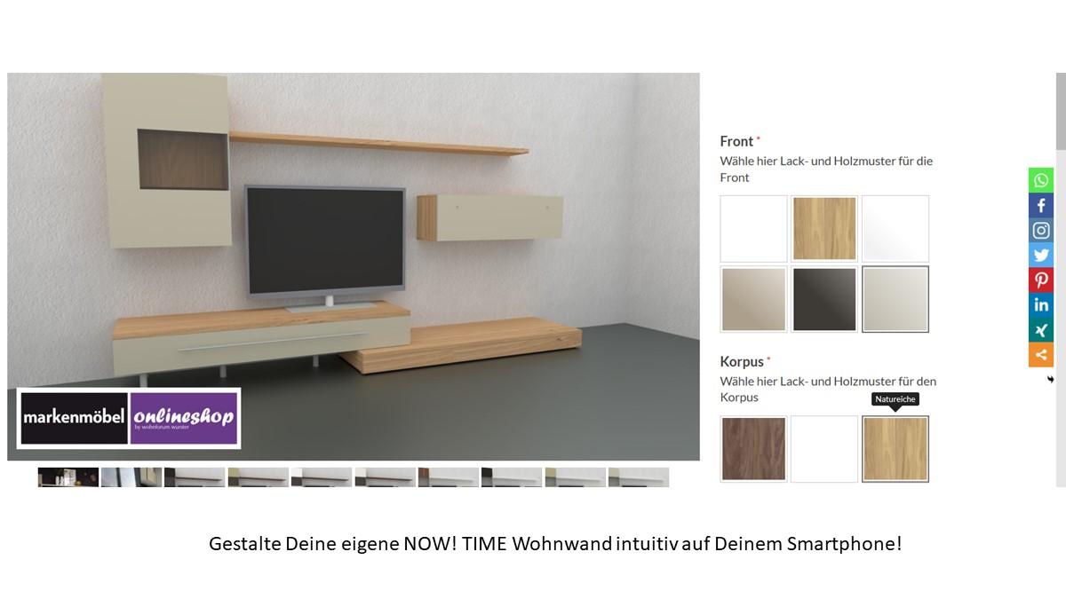 Bestelle die hülsta NOW! TIME Wohnwand #990005 alternativ in unserem neuen noch intuitiveren Markenmöbel-Onlineshop