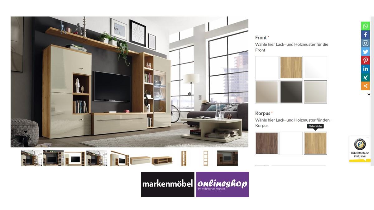 Bestelle die hülsta NOW! TIME Wohnwand #990009 alternativ in unserem neuen noch intuitiveren Markenmöbel-Onlineshop