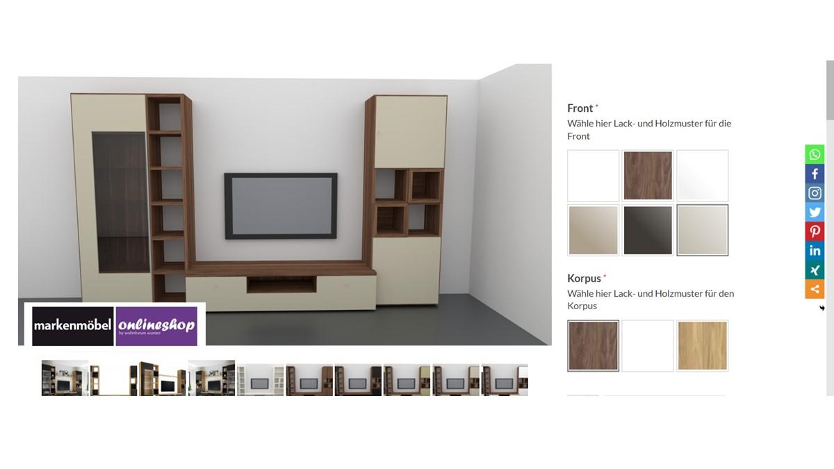 Bestelle die hülsta NOW! TIME Wohnwand #990010 alternativ in unserem neuen noch intuitiveren Markenmöbel-Onlineshop