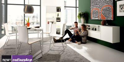 hülsta NOW! EASY Esszimmer-Bundle: Tisch, Stühle, Sideboard und Vitrine mit Regal