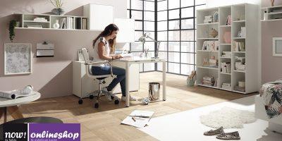 hülsta NOW! EASY Home-Office bestehend aus Drehstuhl, Arbeitswand mit Tisch und großes 3er Regal-System