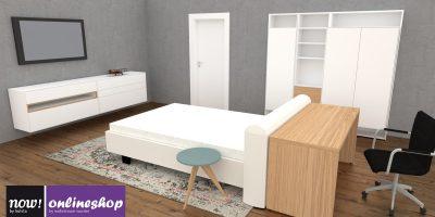 now! Apartment no.1 (Bett, Kleiderschrank, Baukästen, Schreibtisch, Beistelltisch,…) – 3 versch. Designs!
