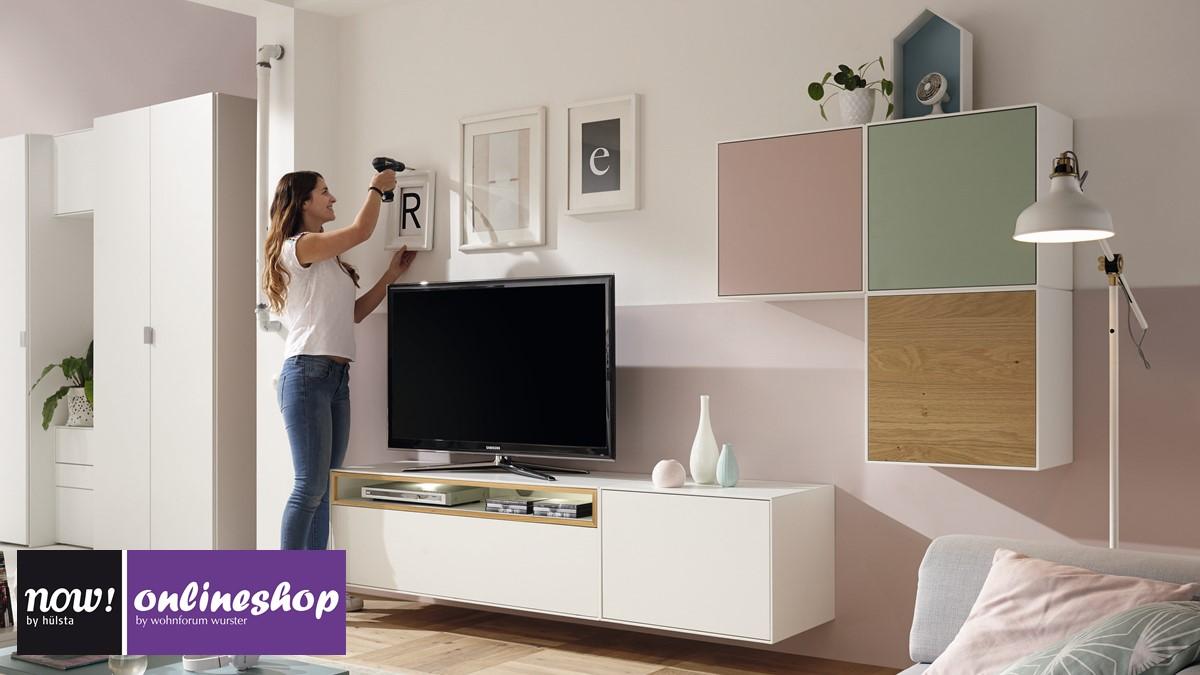 hülsta NOW! EASY Wohnwand mit 3 Design-Boxen in zahlreichen Farb ...