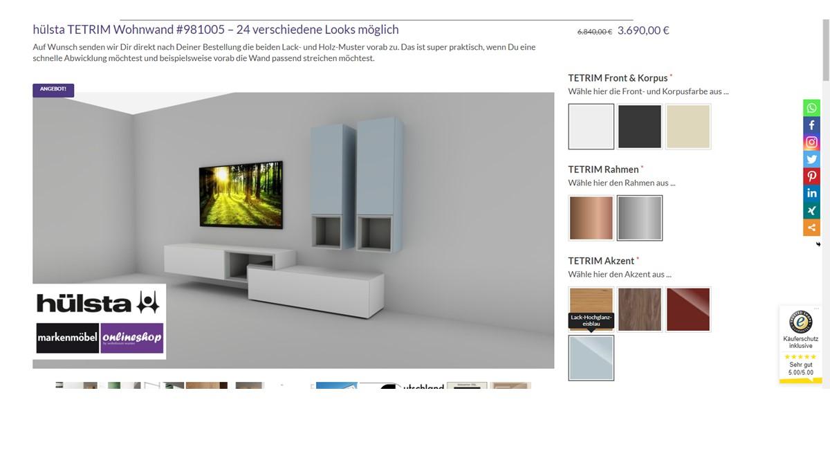 Das hülsta-Original kannst Du in unserem Markenmöbel-Onlineshop selbst individualisieren