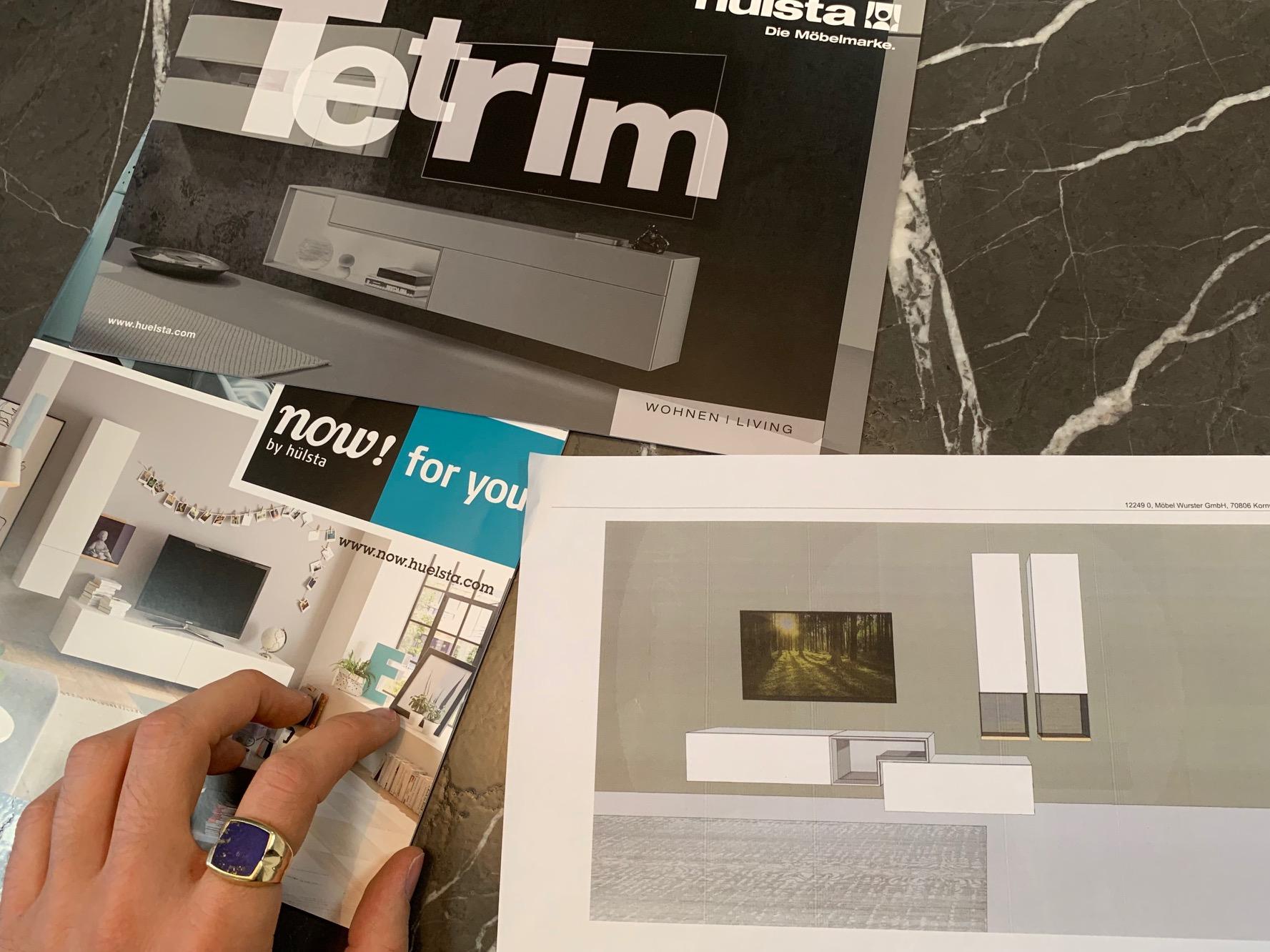 Planungs-Zeichnung zur Crossover-Wohnwand aus den Programmen NOW! for you und hülsta TETRIM
