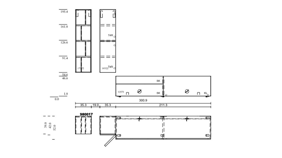 hülsta NOW! VISION Wohnwand #980017 - technische Zeichnung mit Maßen