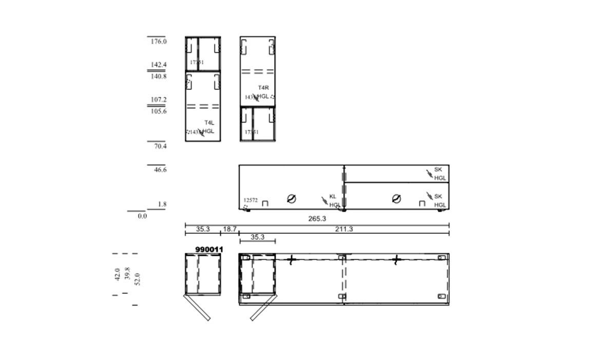 hülsta NOW! VISION Wohnwand #990011 - technische Zeichnung mit Maßen